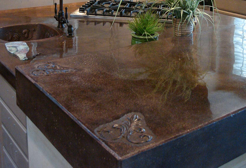 1000 images about counters on pinterest concrete for Polished concrete kitchen countertops
